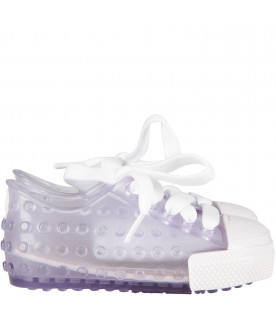 Clear kids shoes with white details