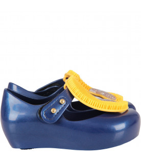 Blue girl ballerina flats with Moon and star