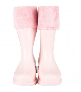 MINI MELISSA Pink girl rain boots with logo