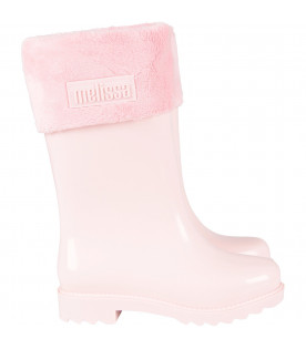 Pink girl rain boots with logo