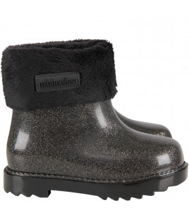 Grey girl rain boots with logo