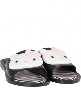 Black girl sandals with Hello Kitty