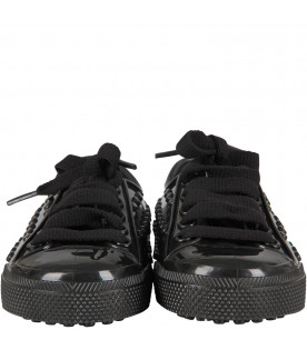 MINI MELISSA Black kids shoes with white details