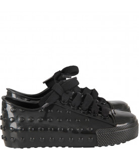 Black kids shoes with white details