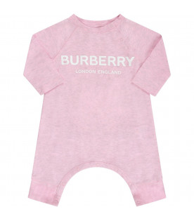 BURBERRY KIDS Pink babyboy set with white logo