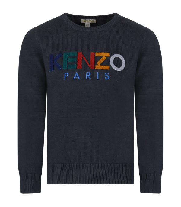 KENZO KIDS Blue boy sweater with colorful logo