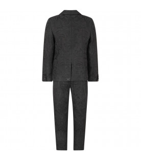 DOLCE & GABBANA KIDS Black boy suit with grey logo