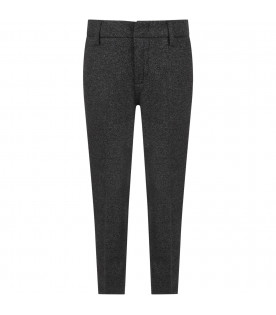 Grey pants for boy with black side stripes