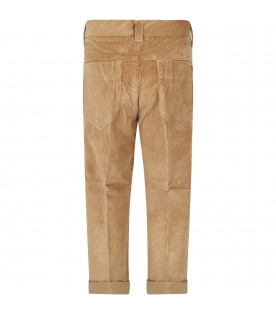 DONDUP KIDS Beige boy pants with iconic D