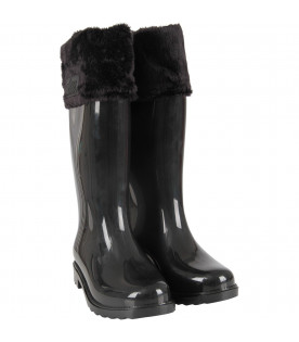 Black rain boots for girl with logo