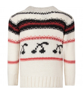 BONPOINT Ivory kids sweater with white cerise
