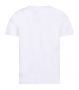 White T-shirt with blue pony logo for boy