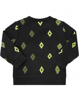 Black babyboy sweatshirt with neon yellow cross