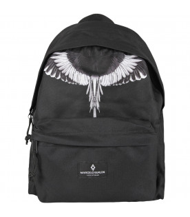 MARCELO BURLON KIDS Black boy backpack with white wing