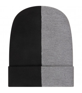 Grey and black boy hat with white cross