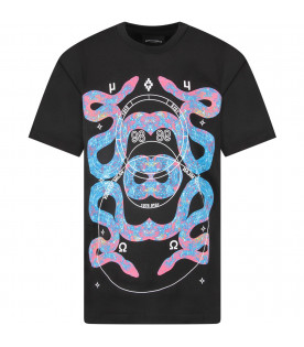 Black boy T-shirt with colorful snakes