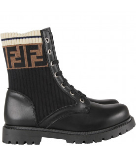 FENDI KIDS Black kids amphibious shoes with double FF