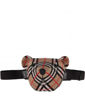 BURBERRY KIDS Beige kids bum-bag with iconic check