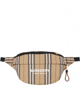 BURBERRY KIDS Beige kids bum bag with white logo