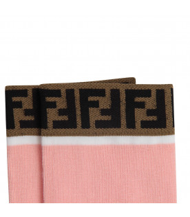 FENDI KIDS Pink girl parisian stockings with double FF