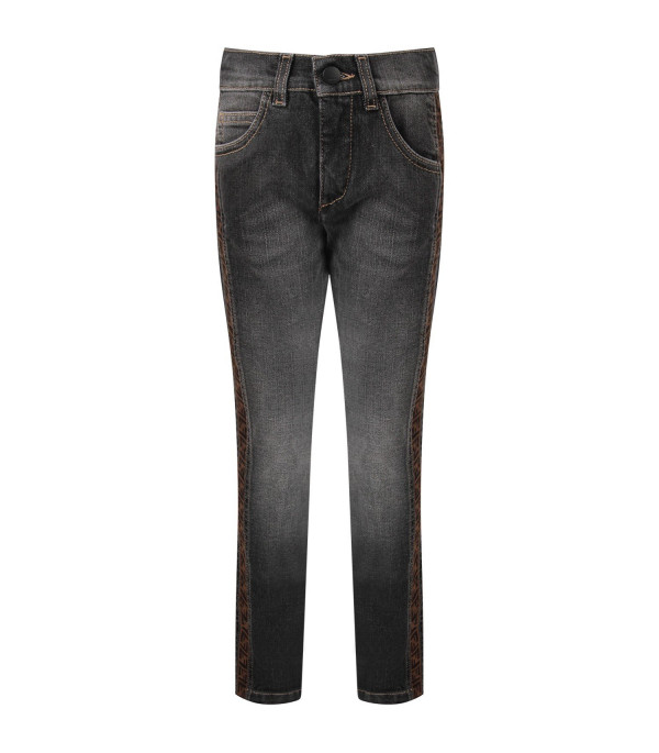 FENDI KIDS Grey boy jeans with iconic double FF