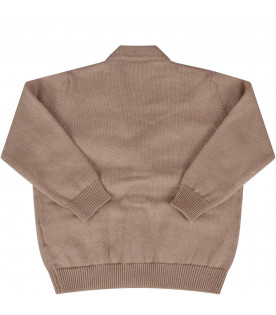 FENDI KIDS Beige babyboy cardigan with light blue double FF