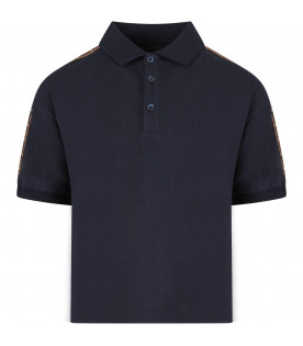 FENDI KIDS Blue boy polo shirt with iconic double FF