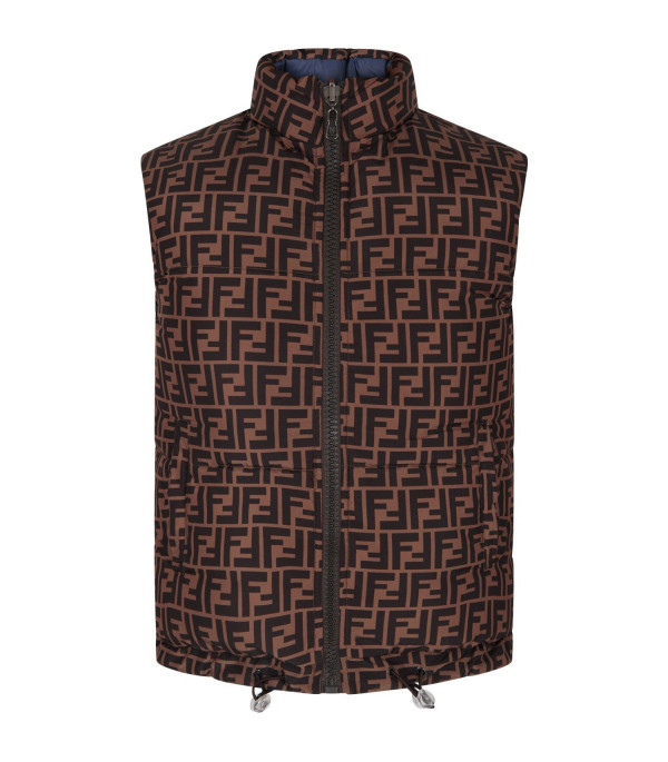 FENDI KIDS Blue and brown boy reversible gilet with double FF