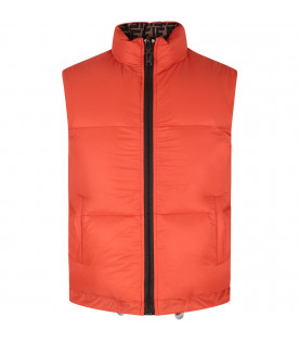 FENDI KIDS Orange and brown boy reversible gilet with double FF