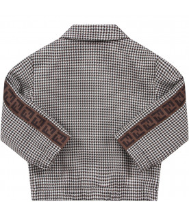 Pied de poule jacket for baby boy with double FF