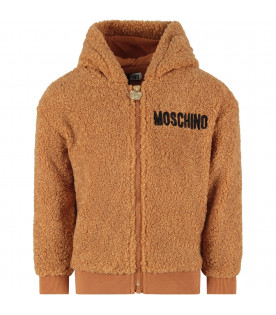 MOSCHINO KIDS Camel kids sweatshirt with black logo
