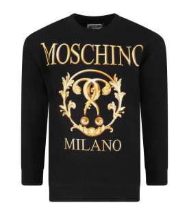 Black girl sweatshirt with gold ''Moschino Milano'' logo