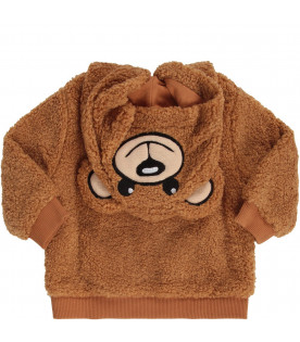 MOSCHINO KIDS Camel babykids sweatshirt with black logo