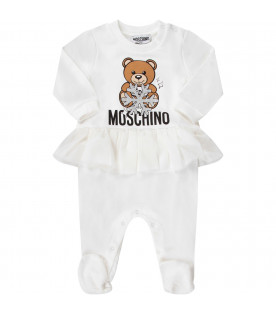 MOSCHINO KIDS White babygirl babyfrow with Teddy Bear and snowflake
