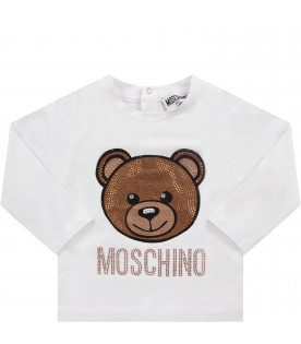 MOSCHINO KIDS White girl T-shirt with rhinestoned Teddy Bear