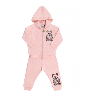 MOSCHINO KIDS Pink babygirl tracksuit with black Teddy Bear