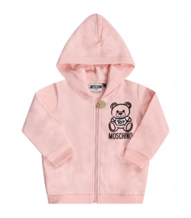 Pink babygirl tracksuit with black Teddy Bear