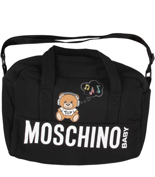 MOSCHINO KIDS Black babykids changing bag with Dj Teddy Bear