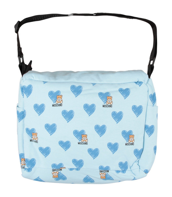 MOSCHINO KIDS Light blue babyboy changing bag with Teddy Bear and light blue heart