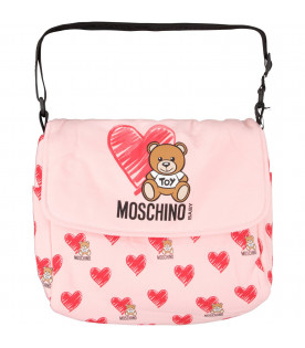 MOSCHINO KIDS Pink babygirl changing bag with Teddy Bear and red heart