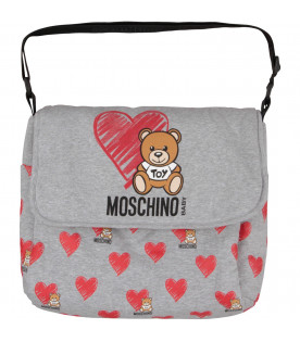 MOSCHINO KIDS Grey babykids changing bag with Teddy Bear and red heart