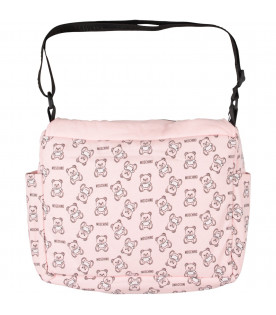 MOSCHINO KIDS Pink babygirl changing bag with black Teddy Bear and logo