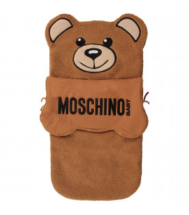 MOSCHINO KIDS Camel babykids sleeping bag with black logo