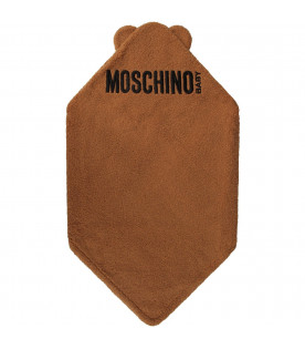 MOSCHINO KIDS Camel babykids blanket with logo