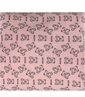 MOSCHINO KIDS Pink babygirl blanket with black and white Teddy Bear and logo