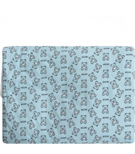 MOSCHINO KIDS Light blue babyboy blanket with black and white Teddy Bear and logo