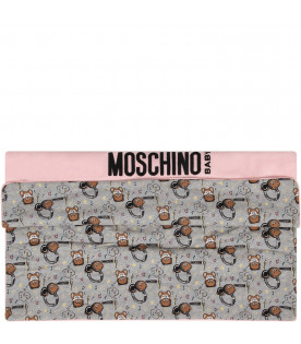 MOSCHINO KIDS Pink and grey babygirl blanket with black and Dj Teddy Bear