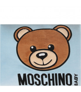 MOSCHINO KIDS Light blue and grey babykids blanket with black and Dj Teddy Bear