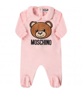 MOSCHINO KIDS Pink babygirl babygrow with Teddy Bear and black logo