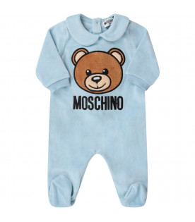 MOSCHINO KIDS Light blue babykids babygrow with Teddy Bear and black logo